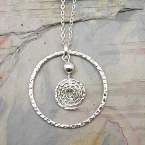 Anju Jewelry Jewelry - Hammered Silver Circles Long Necklace